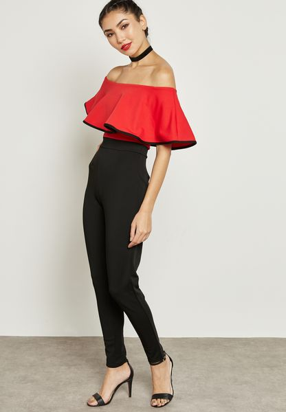 Ruffled Bardot Piping Jumpsuit