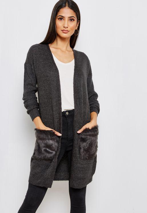 Faux Fur Pocket Detail Cardigan