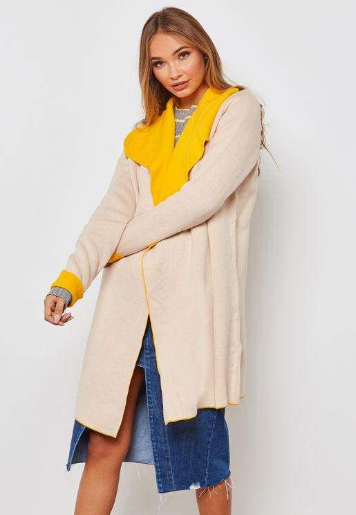 Two Tone Long Line Cardigan