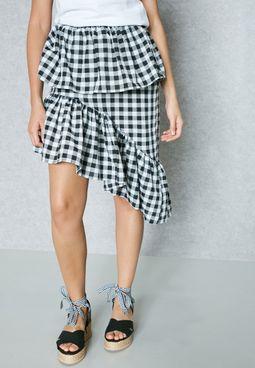 Checked Ruffle Detail Skirt