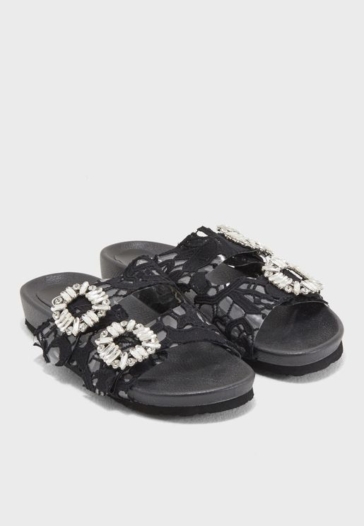 Sharpay Embellished Two Strapped Lace Sandal