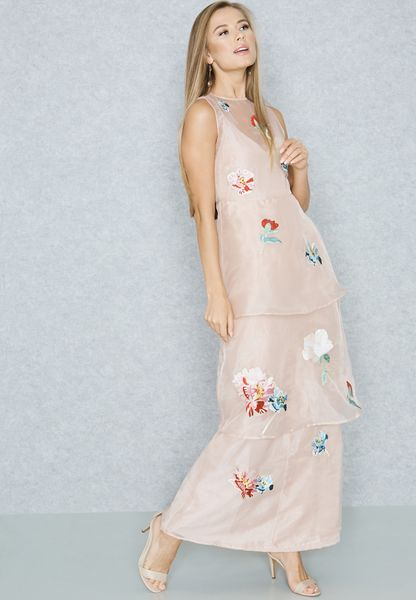 Embroidered Layered Maxi Dress