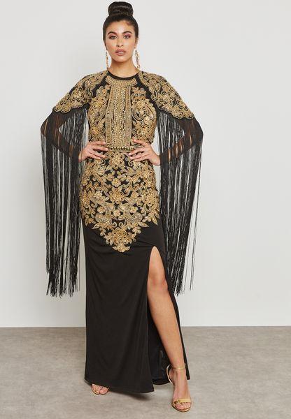 Embroidered Tassel Maxi Dress