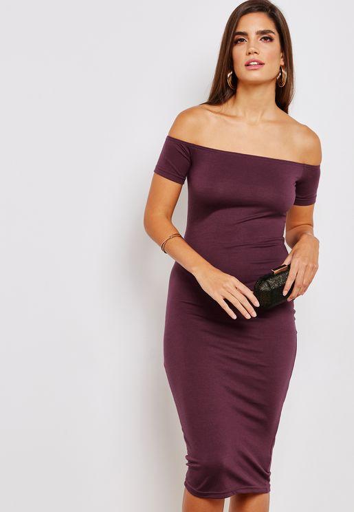 Tall Bardot Jersey Bodycon Midi Dress