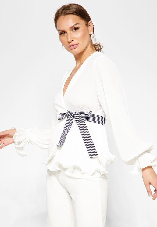 Tie Side Pleated Wrap Top