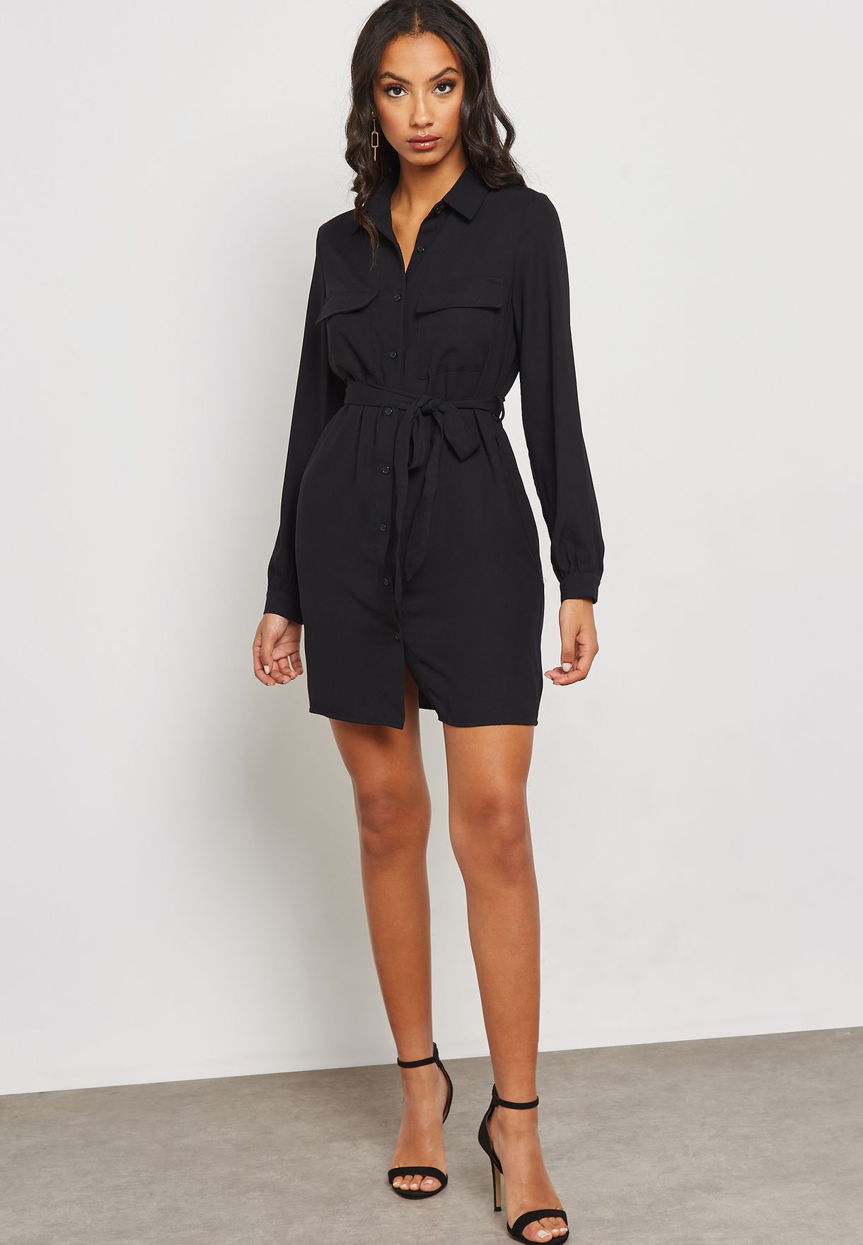 c743500a841 Shop Forever 21 black Long Sleeve Shirt Dress 301081 for Women in ...