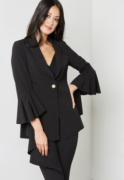 Flared Detail Suit Jacket