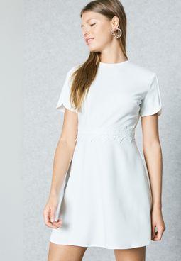High Neck Lace Waist Dress