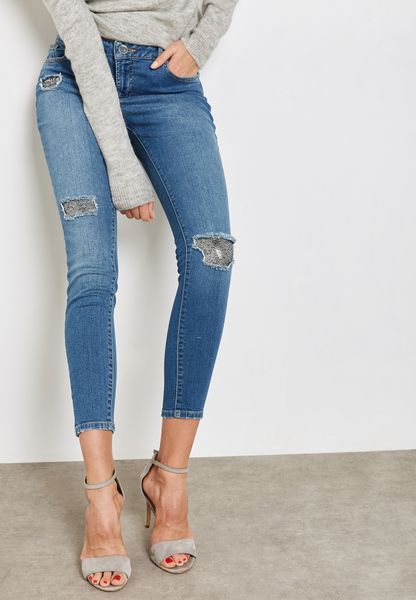 Mid Wash Sequin Patch Darcy Skinny Jeans