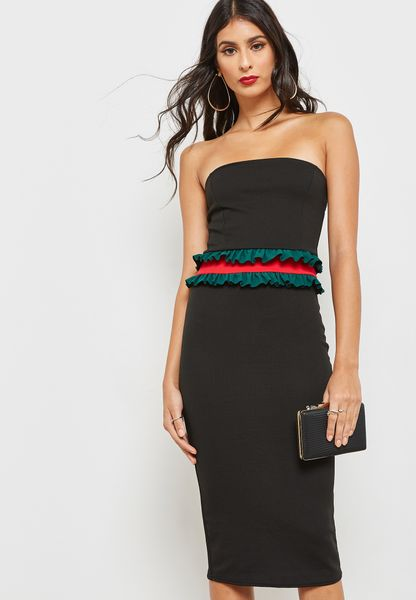 Contrast Waist Bandeau Dress