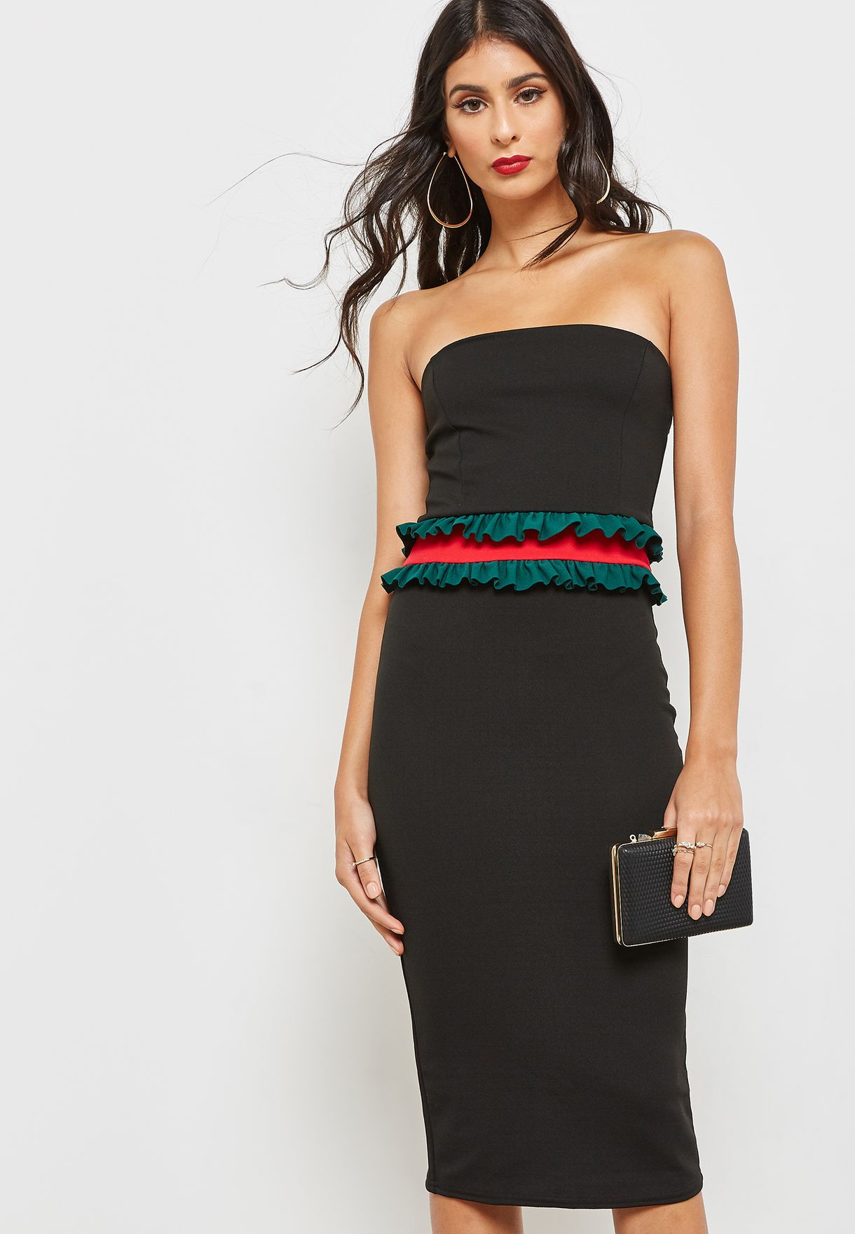 Contrast Waist Ruffle Bandeau Dress