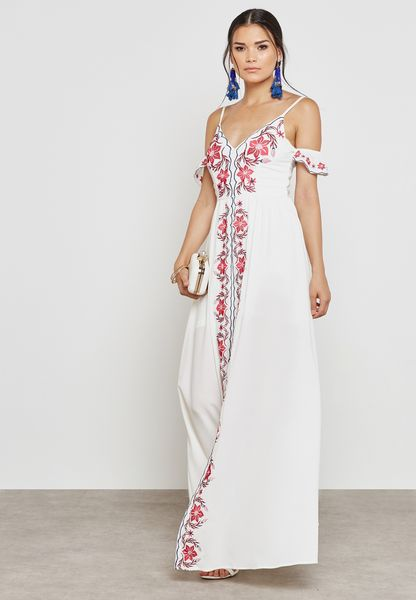 Embroidered Plunge Cold Shoulder Dress