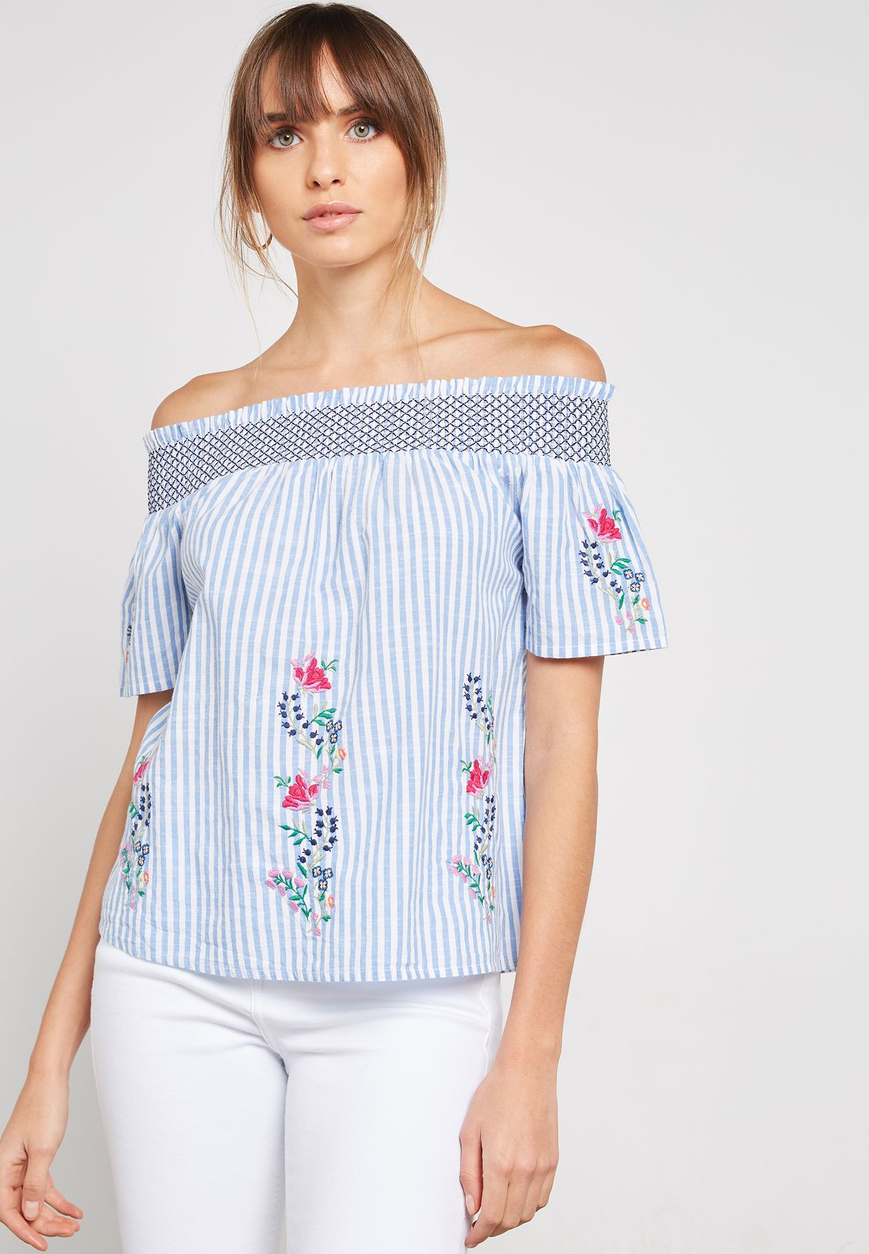 c86387a2dd48bf Shop Dorothy Perkins prints Striped Floral Embroidered Bardot Top ...