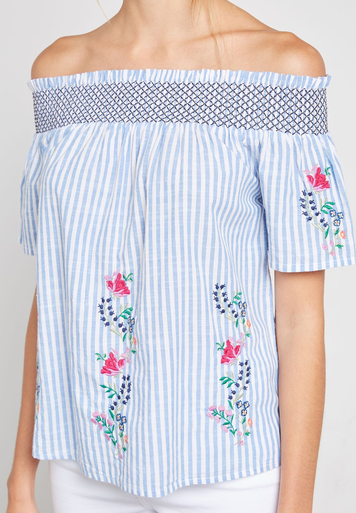 Striped Floral Embroidered Bardot Top