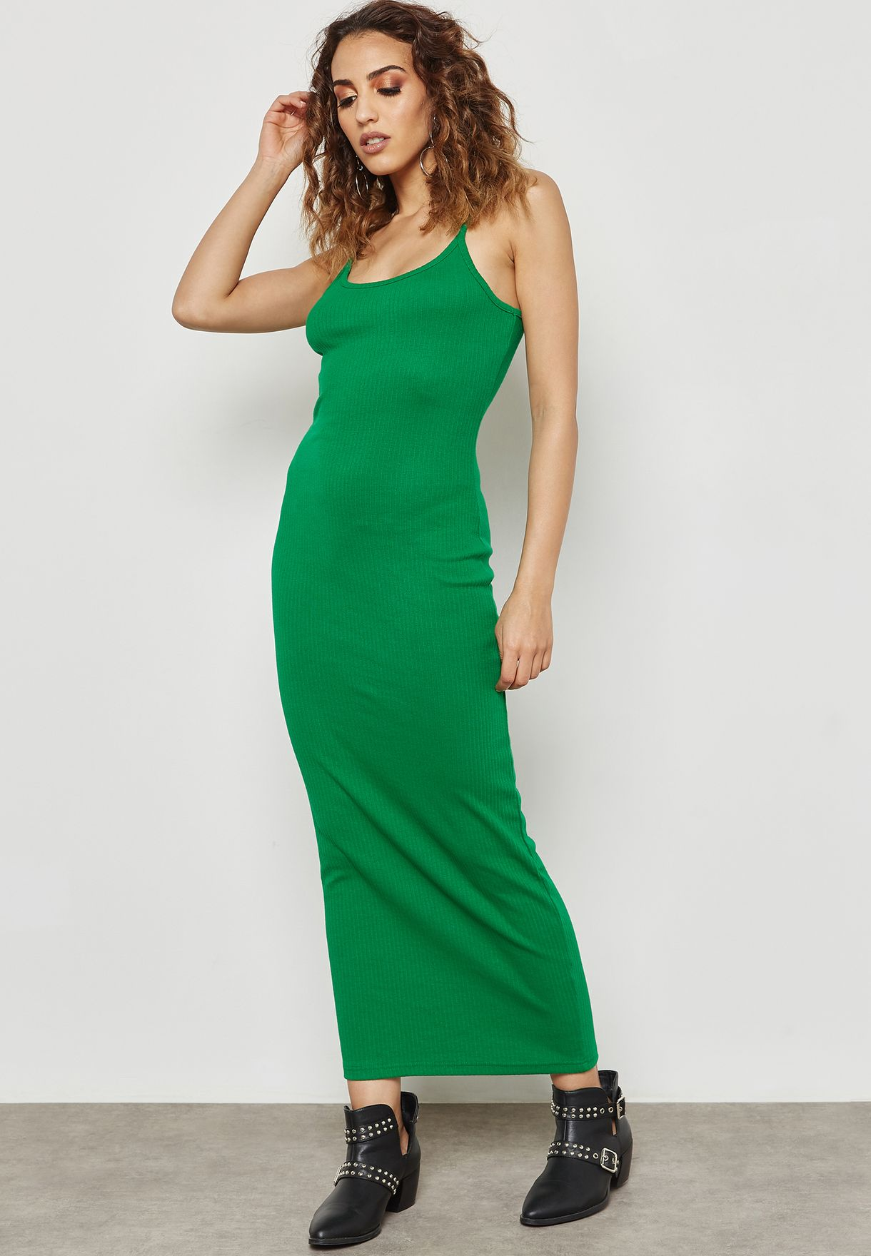 c7f39b8c7615 Shop Missguided green Ribbed Strappy Midi Dress WSDD911312 for Women ...