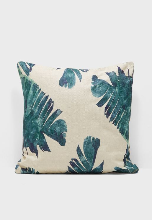 Palm Leaf Print Cushion Insert Included 45x45cm
