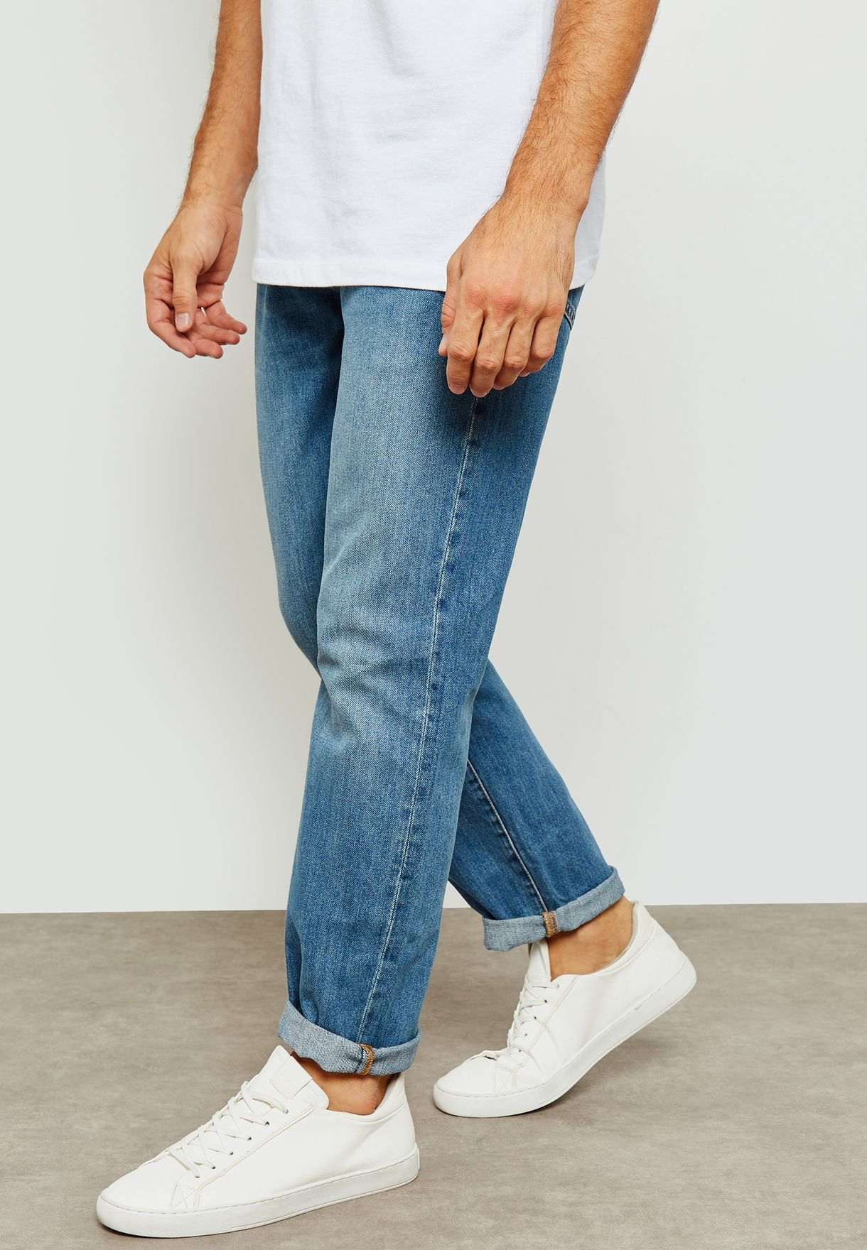 Washed Straight Fit Jeans