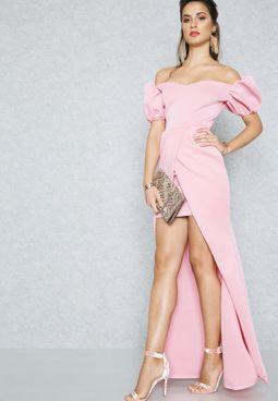 Puffed Sleeve Bardot Detail Dress