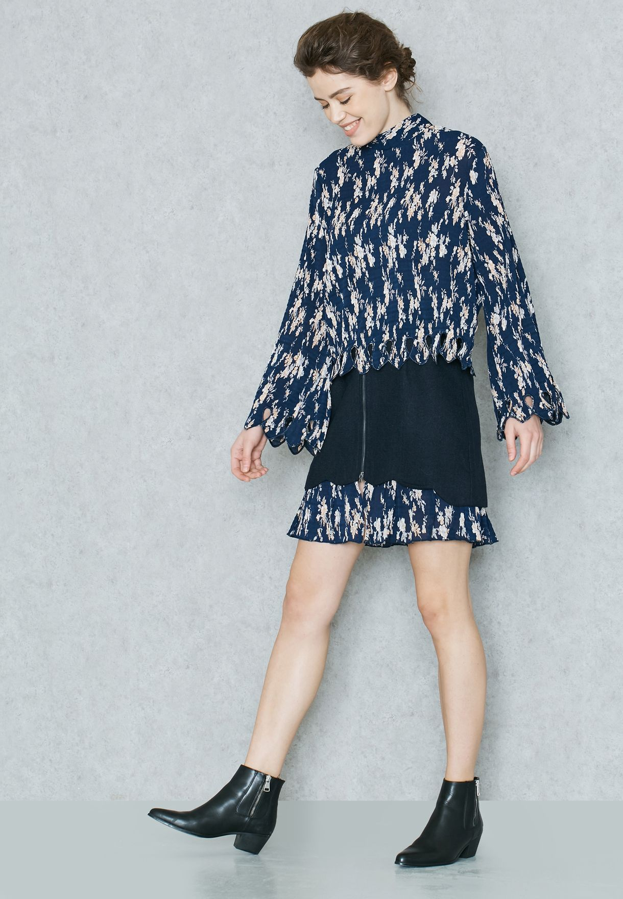585dc3fcc89 Shop I Love Friday navy Printed Layered Skirt SM14182 for Women in ...