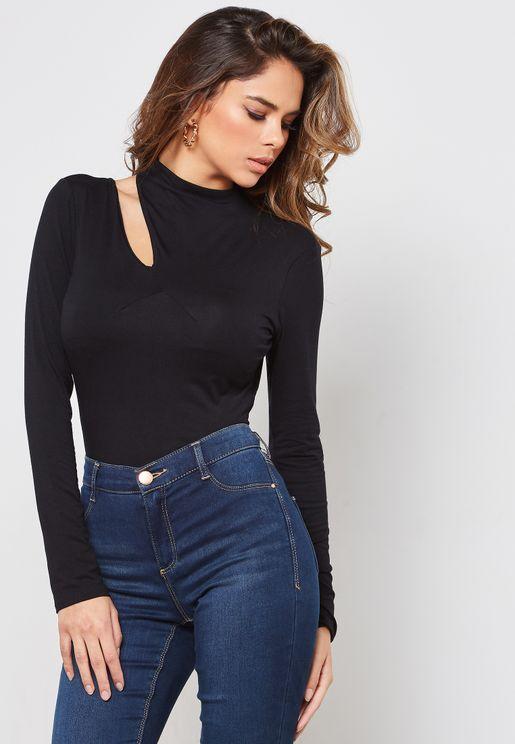 Long Sleeve Cut Out Shoulder Top