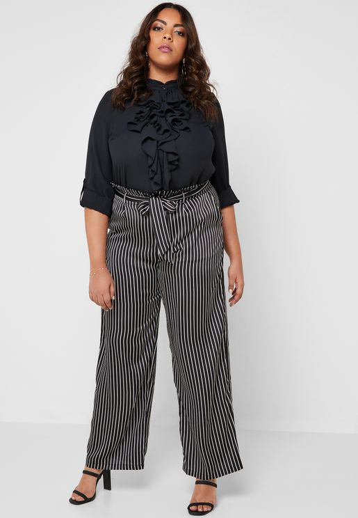 Striped Paperbag Waist Pants