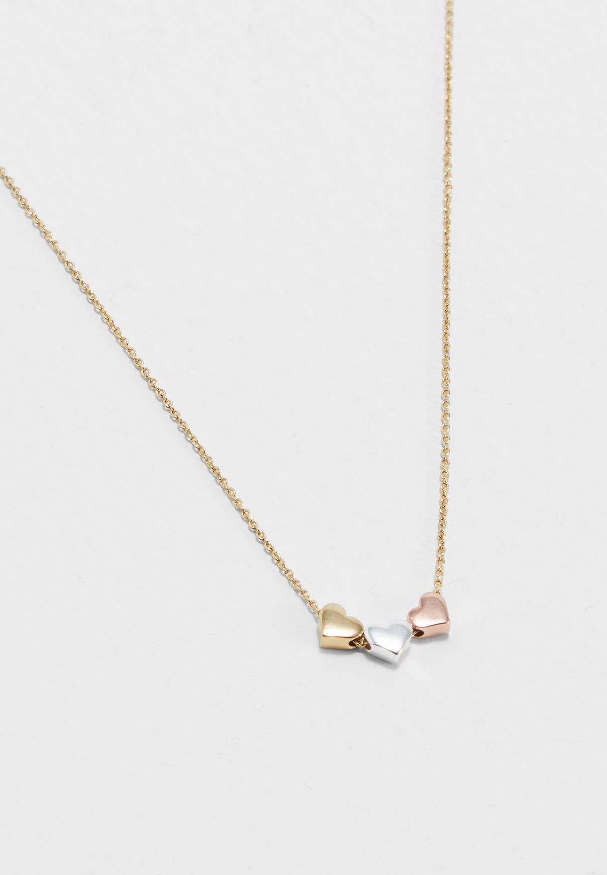 7966c4db3a259 Shop Orelia London gold Three Little Hearts Necklace ORE7342MS for ...