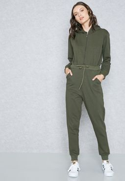 Zip Front Hooded Jumpsuit