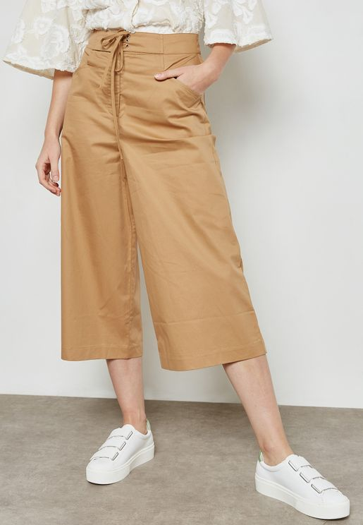 Front Lace Up Culottes