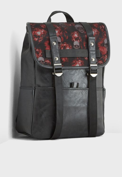 Skull Print Laptop Sleeve Backpack