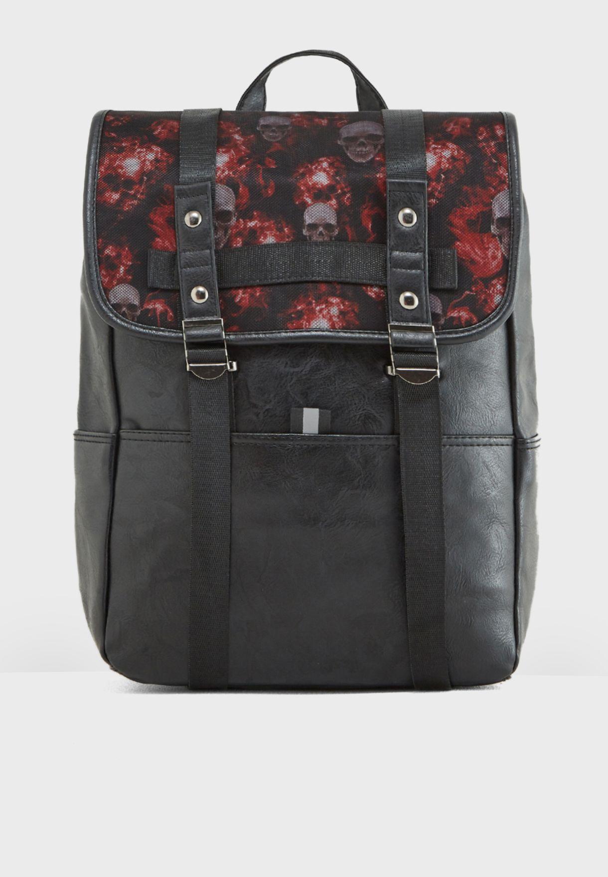 Skull Print Laptop Sleeve Backpack