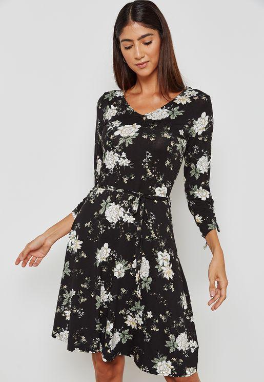 Tie Sleeve Floral Print Dress