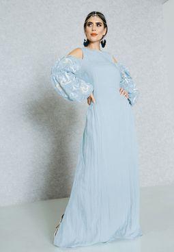 Printed Sleeve Cold Shoulder Dress