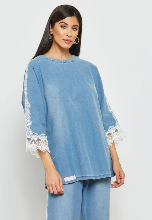 Lace Paneled Denim Top