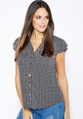 Ginger Frill Sleeve Checkered Shirt