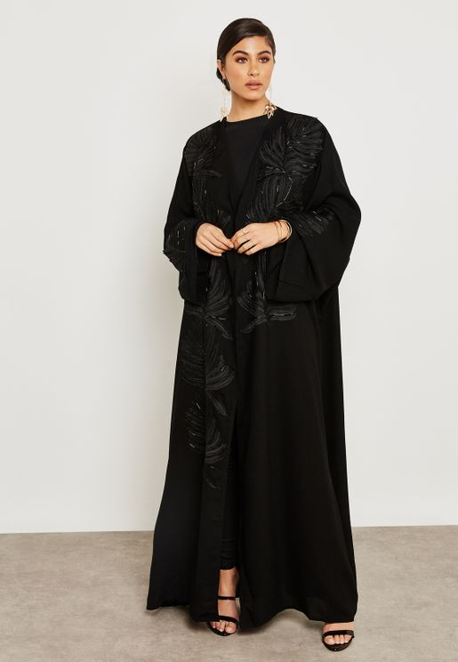 Embroidered Beadwork Overlap Abaya
