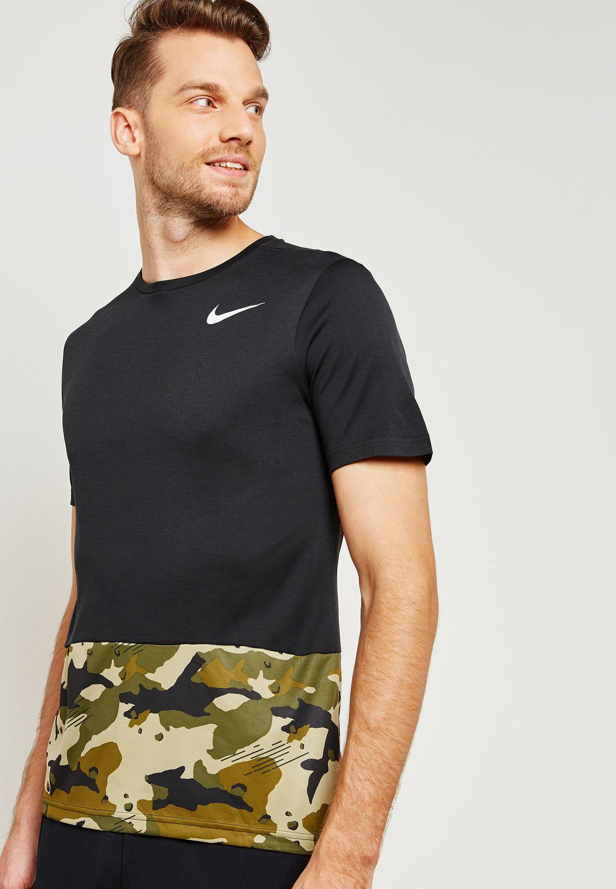 28c621def45d Shop Nike black Breathe Hyper Dri-FIT Camo T-Shirt AQ1091-010 for ...