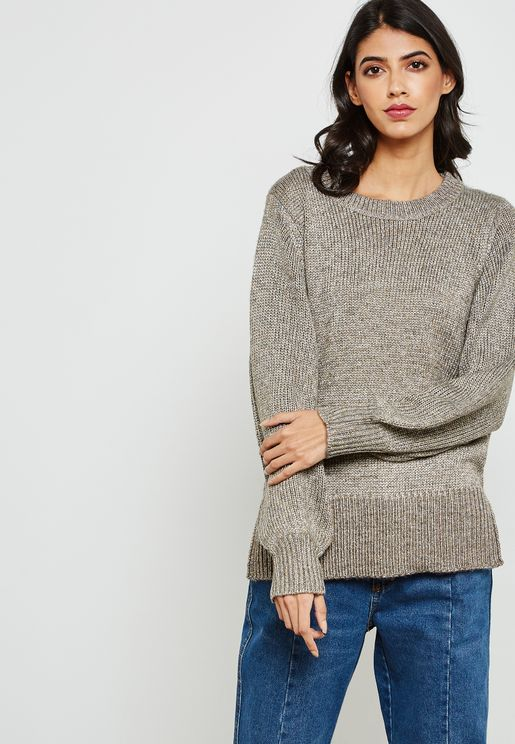 Cuffed Sleeve Knitted Sweater