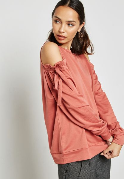 Cold Shoulder Frill Sweater