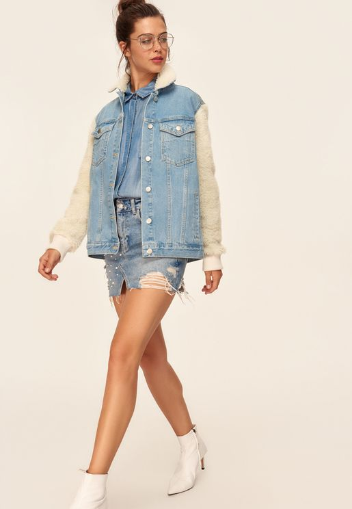 Denim Fur Sleeves Jacket