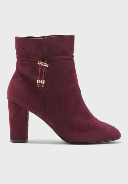 Burgundy Suede Classic Ankle Pump