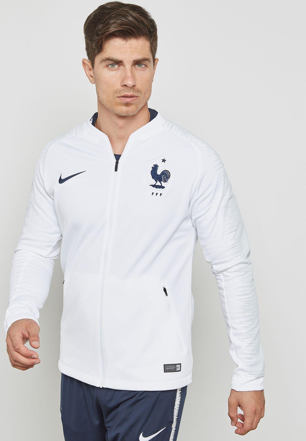 29952ebc2 Shop Nike white France Anthem Track Jacket 893590-102 for Men in ...