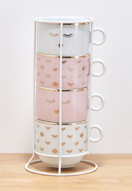 4 Designs Mugs On A Rack Set