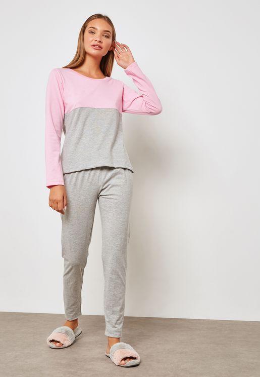 Colourblock Pyjama Set