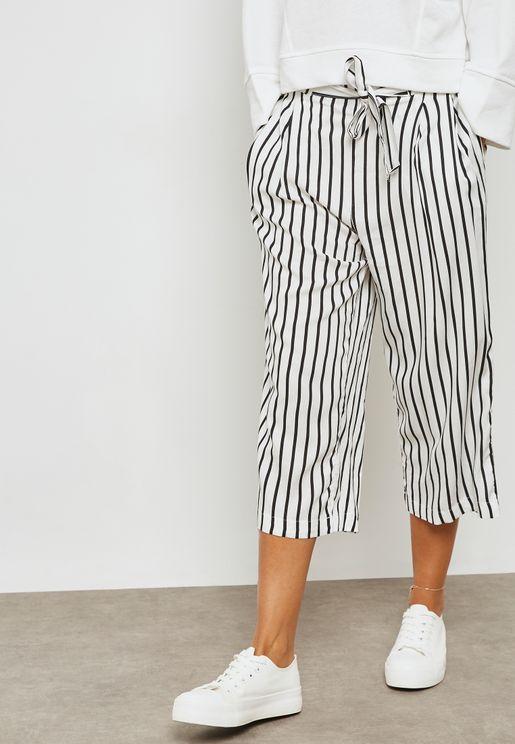 Striped Tie Waist Pants