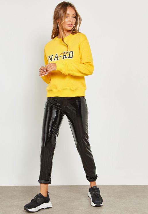 High Shine Leather Look Skinny Pants