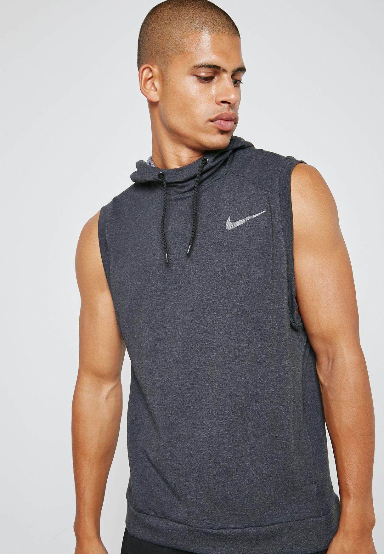 281b1685 Shop Nike grey Dri-FIT Hyper Hoodie 889389-010 for Men in UAE ...