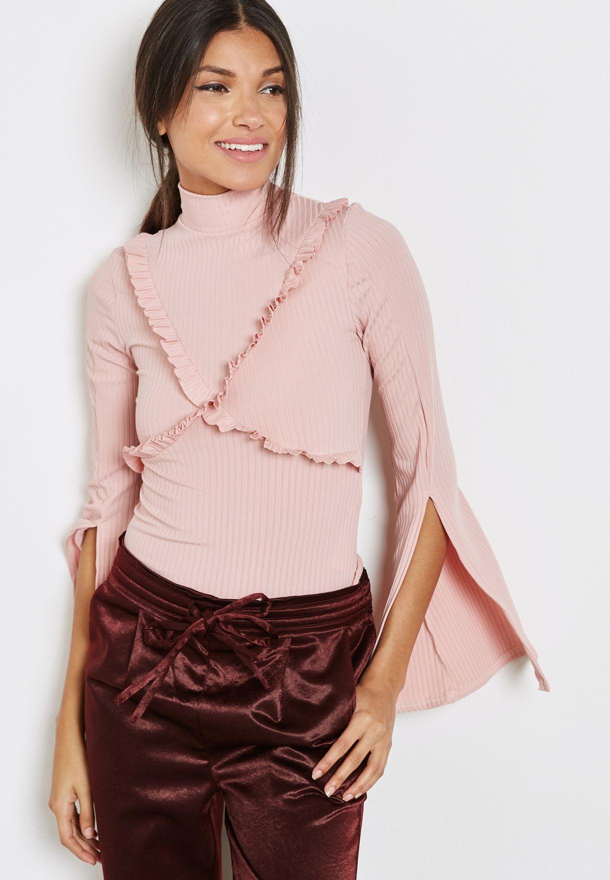 7bdc6f605 Shop Lost Ink pink High Neck Split Sleeve Top 0601113131060065 for ...