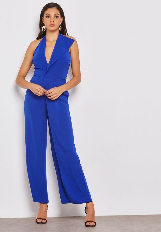 Oversized Collar Halter Neck Wide Leg Jumpsuit