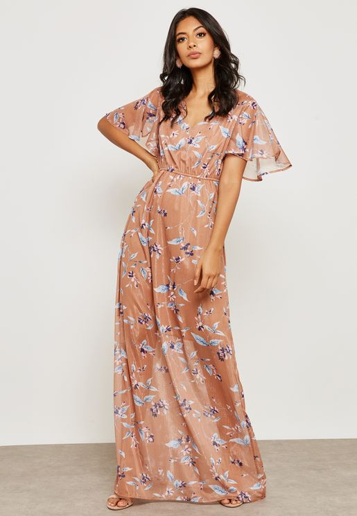 Flute Sleeve Wrap Printed Dress