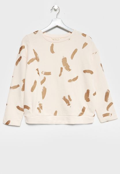 Little Feather Print Sweatshirt